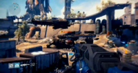 Destiny E3 2013 Demo, Walker on the ground, Dropship in the air.png