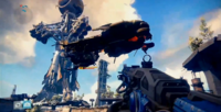 Destiny E3 2013 Demo, Fallen Dropship carrying Devil Walker.png